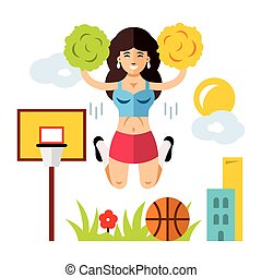 Vector Cheerleading Concept. Flat style colorful Cartoon...