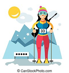 Vector Biathlon Concept. Flat style colorful Cartoon...