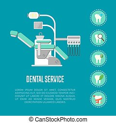 Dental service banner with dental chair - Dental service...