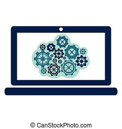 blue gear in the laptop icon