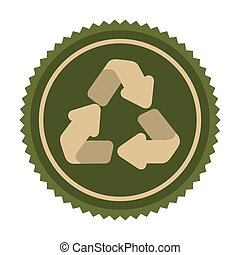 green emblem cycle recycle icon, vector illustraction design...