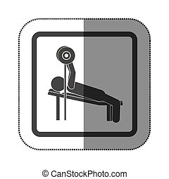 man practicing weights lying down icon, vector illustration...