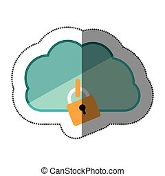cloud hosting data center icon, vector illustration design