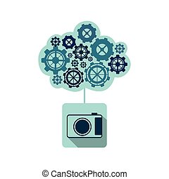 blue camara with cloud of gears icon, vector illustraction...