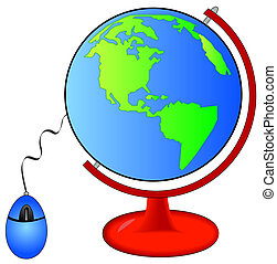 earth on globe stand connected mouse