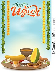 Happy Ugadi greeting card with festive dish. Hot red pepper,...