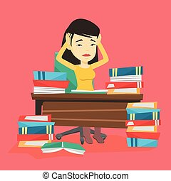 Student sitting at the table with piles of books. - Asian...