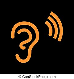 Human ear sign. Orange icon on black background. Old...