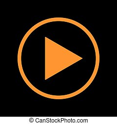 Play sign illustration. Orange icon on black background. Old...