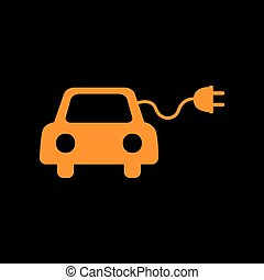 Eco electric car sign. Orange icon on black background. Old...