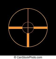 Sight sign illustration. Orange icon on black background. Old phosphor monitor. CRT.