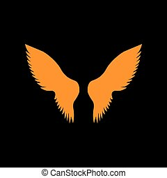 Wings sign illustration. Orange icon on black background....