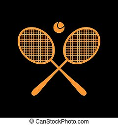 Tennis racket sign. Orange icon on black background. Old...