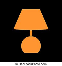 Lamp sign illustration. Orange icon on black background. Old...