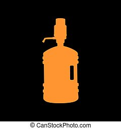 Plastic bottle silhouette with water and siphon. Orange icon...
