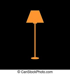 Lamp simple sign. Orange icon on black background. Old...