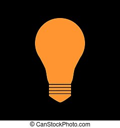 Light lamp sign. Orange icon on black background. Old...