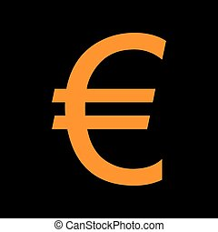 Euro sign. Orange icon on black background. Old phosphor...