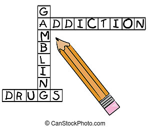 gambling addiction and drugs - pencil filling in crossword -...