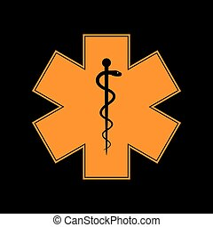 Medical symbol of the Emergency or Star of Life. Orange icon...