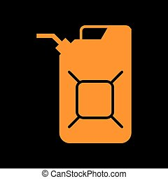Jerrycan oil sign. Jerry can oil sign. Orange icon on black...