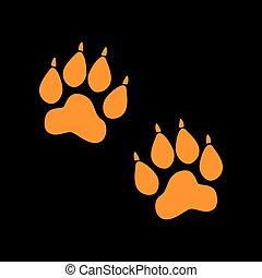 Animal Tracks sign. Orange icon on black background. Old...