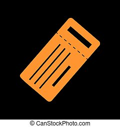 Ticket simple sign. Orange icon on black background. Old...