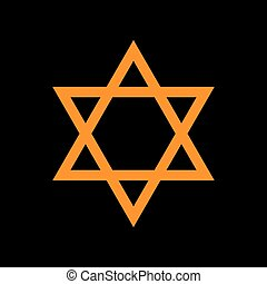 Shield Magen David Star. Symbol of Israel. Orange icon on...