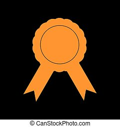 Label sign ribbons. Orange icon on black background. Old...
