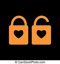 lock sign with heart shape. A simple silhouette of the lock. Shape of a heart. Orange icon on black background. Old phosphor monitor. CRT.