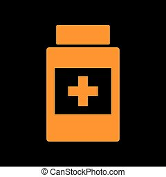 Medical container sign. Orange icon on black background. Old...