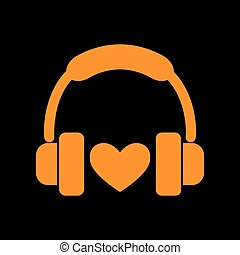 Headphones with heart. Orange icon on black background. Old...