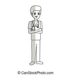 medical doctor icon - medical doctor cartoon icon over white...