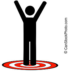 stick man or figure standing on red target with arms raised...