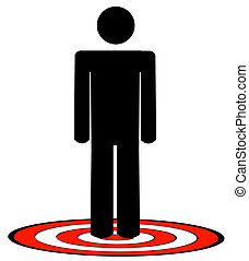 stick man or figure standing on red target