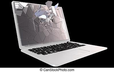 Cybercrime - laptop PC crash - Laptop Computer damage...