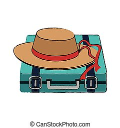 travel suitcase icon - travel suitcase and hat accessory...