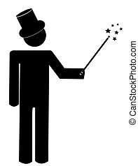 magician with magic hat and wand - stick man or magician...