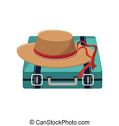 travel briefcase icon - travel briefcase and hat icon over...