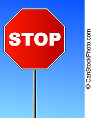 red stop sign against brilliant blue sky