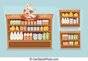 Dairy products set with supermarket shelves - Dairy products...