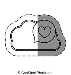 cloud hosting data bubble with heart inside, vecctor...