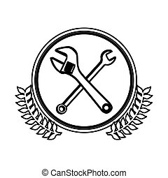figure symbol wrench and monkey wrench icon, vector...