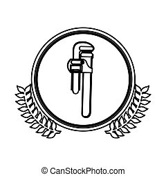 figure symbol pipe wrench icon stock, vector illustration...