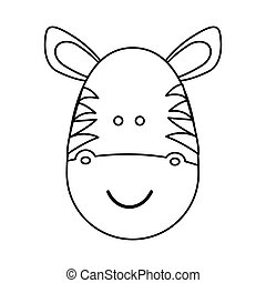 figure face zebraicon - figure face zebra icon, vector...
