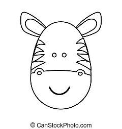 figure face zebraicon - figure face zebra icon, vector...