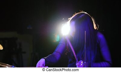 Teen rock music - passionate girl with long hair -...