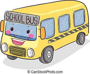 Yellow School Bus Mascot - Vector Illustration of a Yellow...