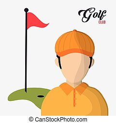golf club player red flag hole in one