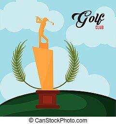 golf club golden trophy